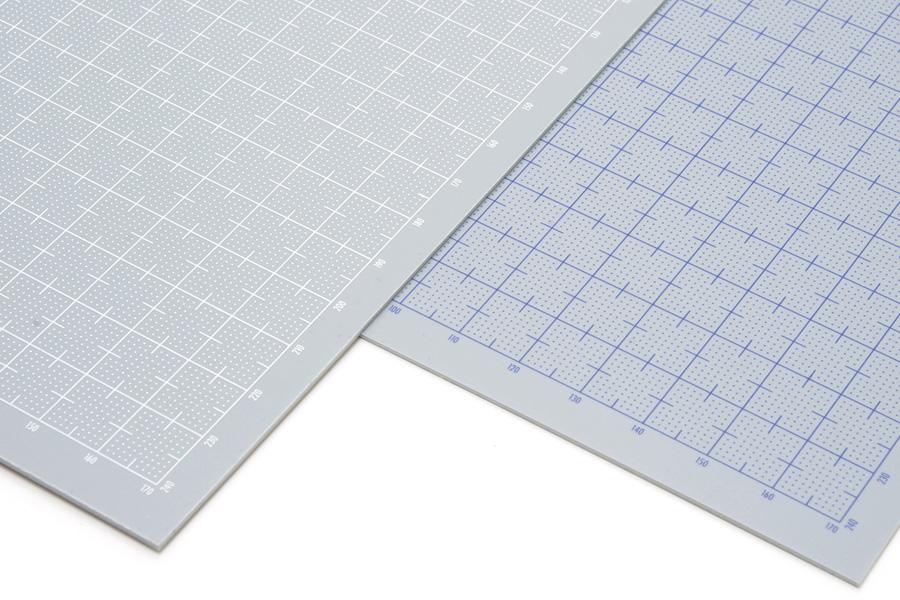 WAVE(ウェーブ) プラ=プレート【グレー】ホワイト 目盛付き 0.3mm 4943209223015