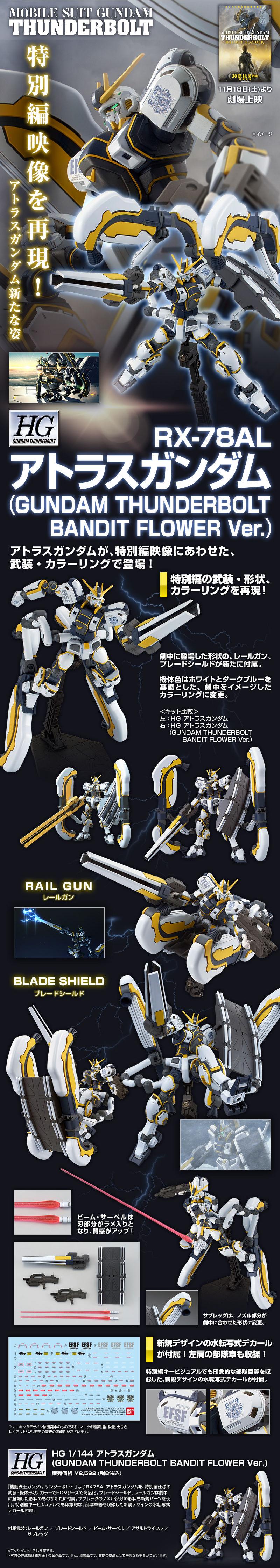 HG 1/144 RX-78AL アトラスガンダム(GUNDAM THUNDERBOLT BANDIT FLOWER Ver.)[Atlas Gundam] 公式商品説明(画像)