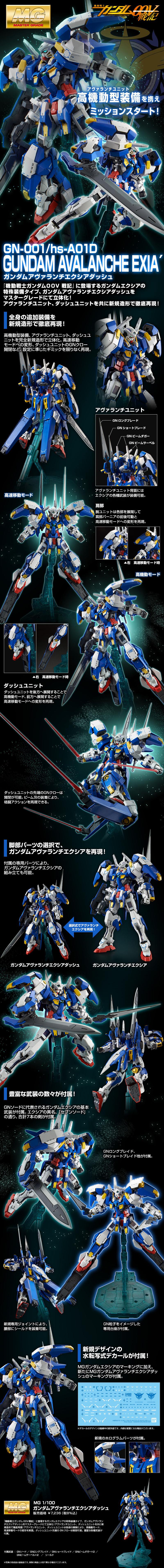 MG 1/100 GN-001/hs-A01D ガンダムアヴァランチエクシアダッシュ [Gundam Avalanche Exia'] 公式商品説明(画像)