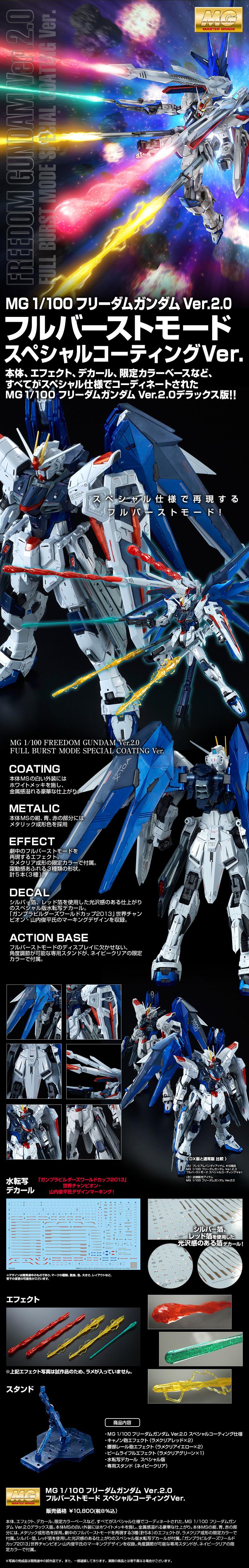 MG 1/100 フリーダムガンダム Ver.2.0 フルバーストモード スペシャルコーティングVer. 公式商品説明(画像)
