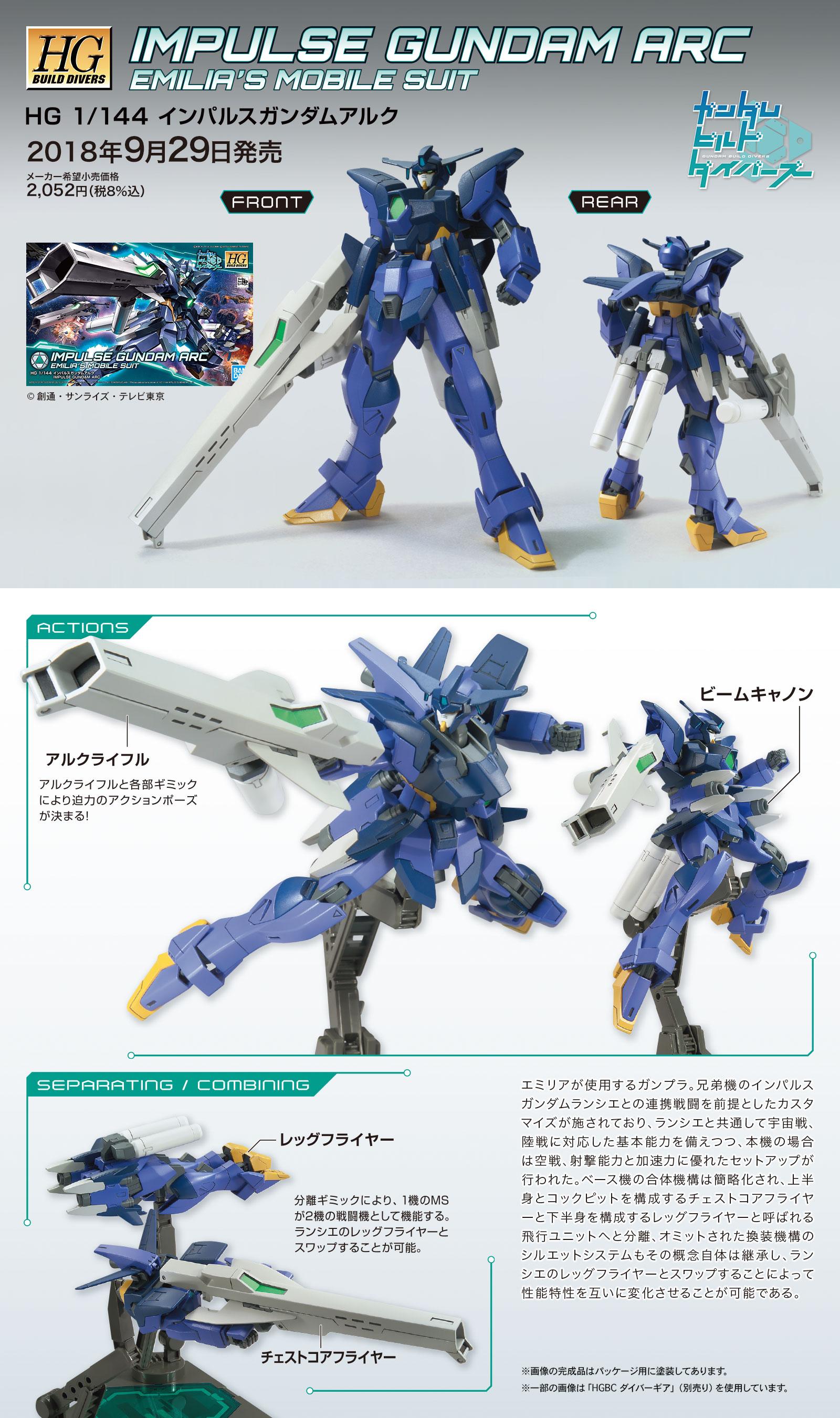 HGBD 1/144 インパルスガンダムアルク [Impulse Gundam Arc] 公式商品説明(画像)