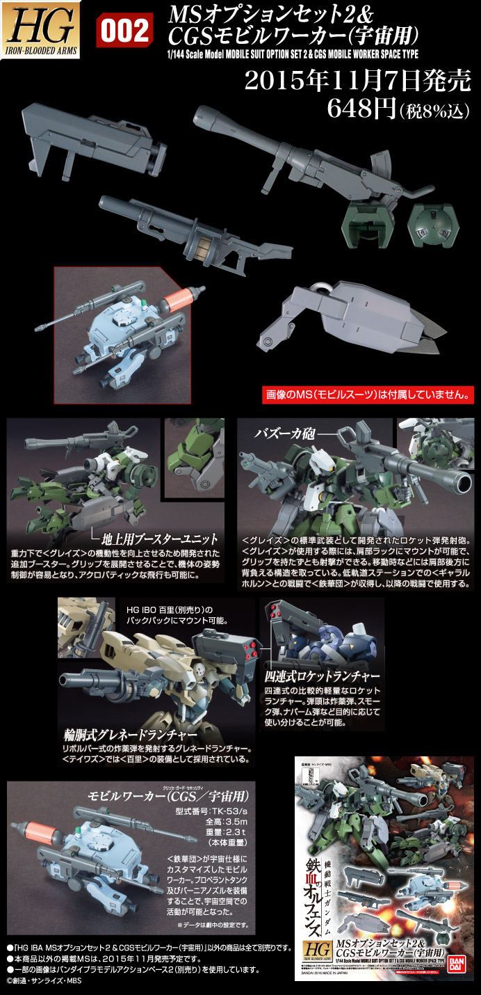 HG 1/144 MSオプションセット2&CGSモビルワーカー(宇宙用) [Mobile Suit Option Set 2 & CGS Mobile Worker Space Type] 公式商品説明(画像)