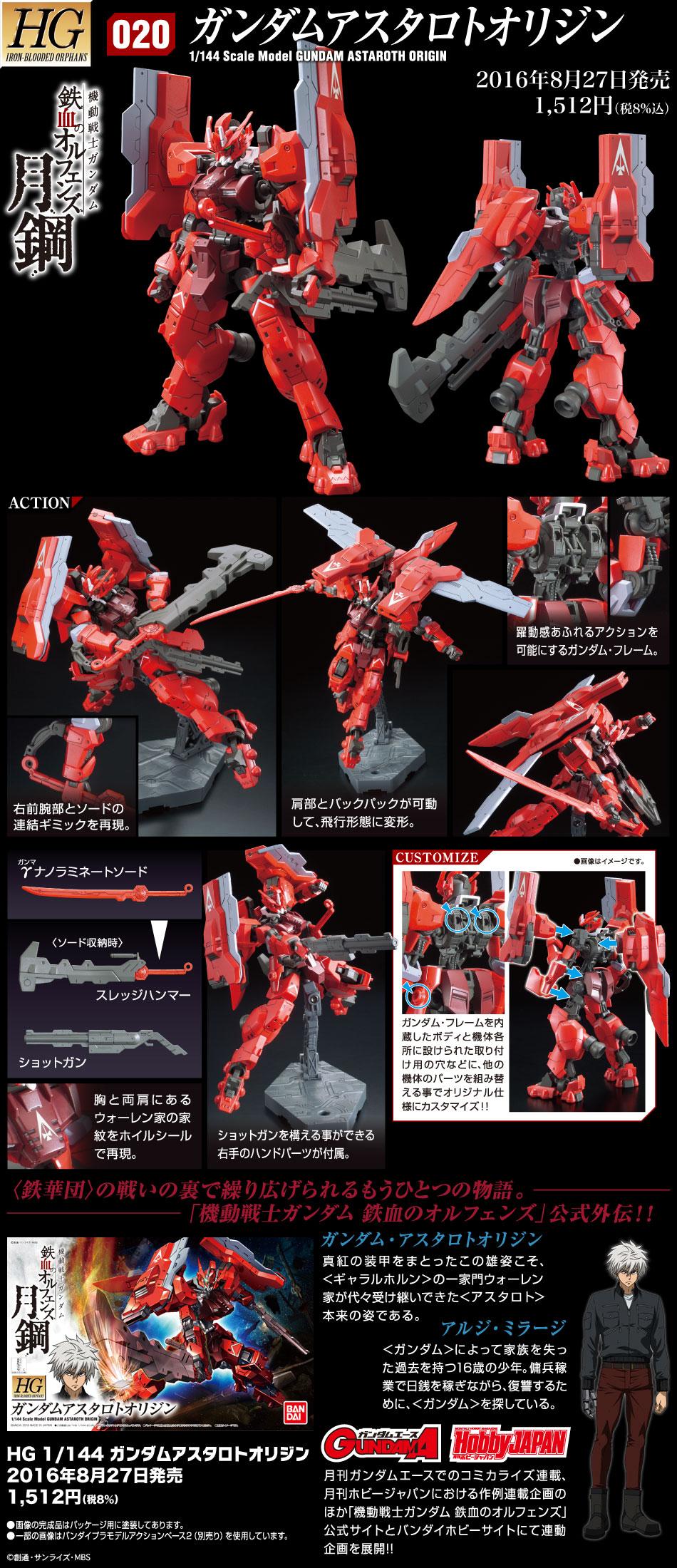 HG 1/144 ASW-G-29 ガンダムアスタロトオリジン [Gundam Astaroth Origin] 公式商品説明(画像)