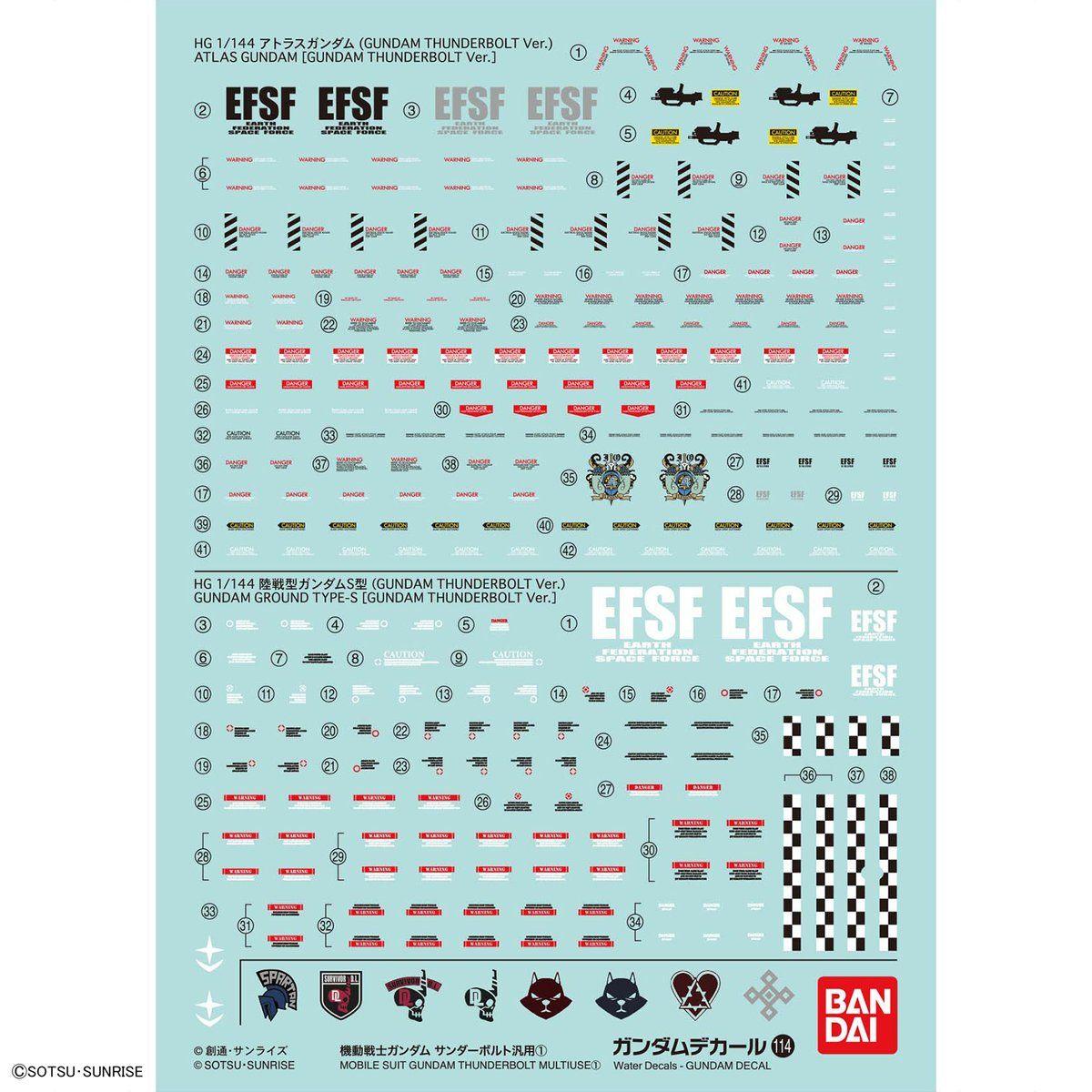 ガンダムデカール GD114 HG 1/144 機動戦士ガンダム サンダーボルト汎用(1) 0221294 4549660212942 5061172 4573102611727