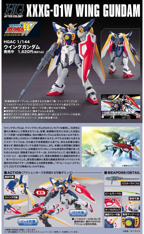 HGAC 1/144 XXXG-01W ウイングガンダム [Wing Gundam] 公式商品説明(画像)