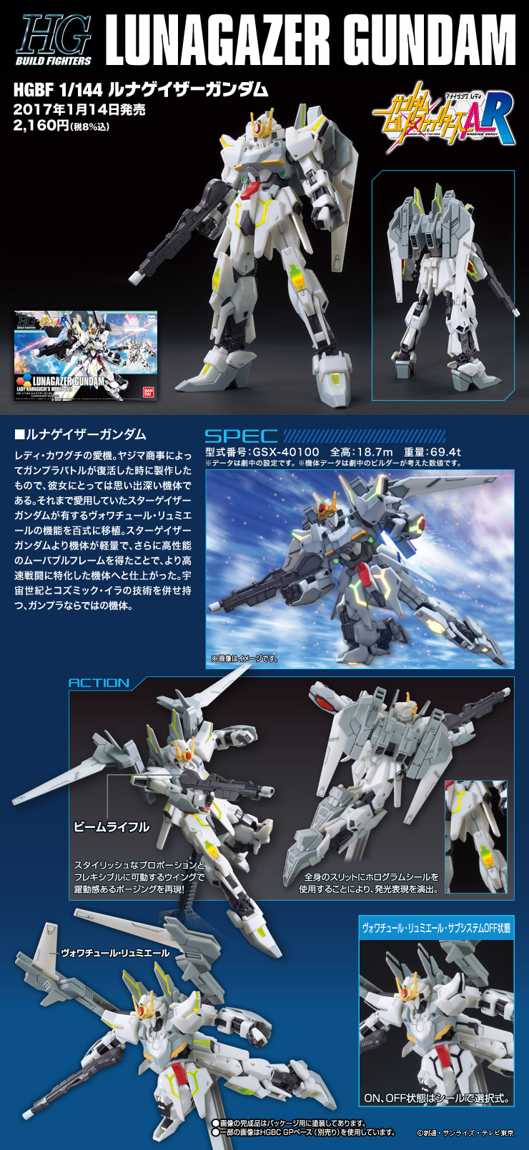 HGBF 1/144 GSX-40100 ルナゲイザーガンダム [Lunagazer Gundam] 公式商品説明(画像)