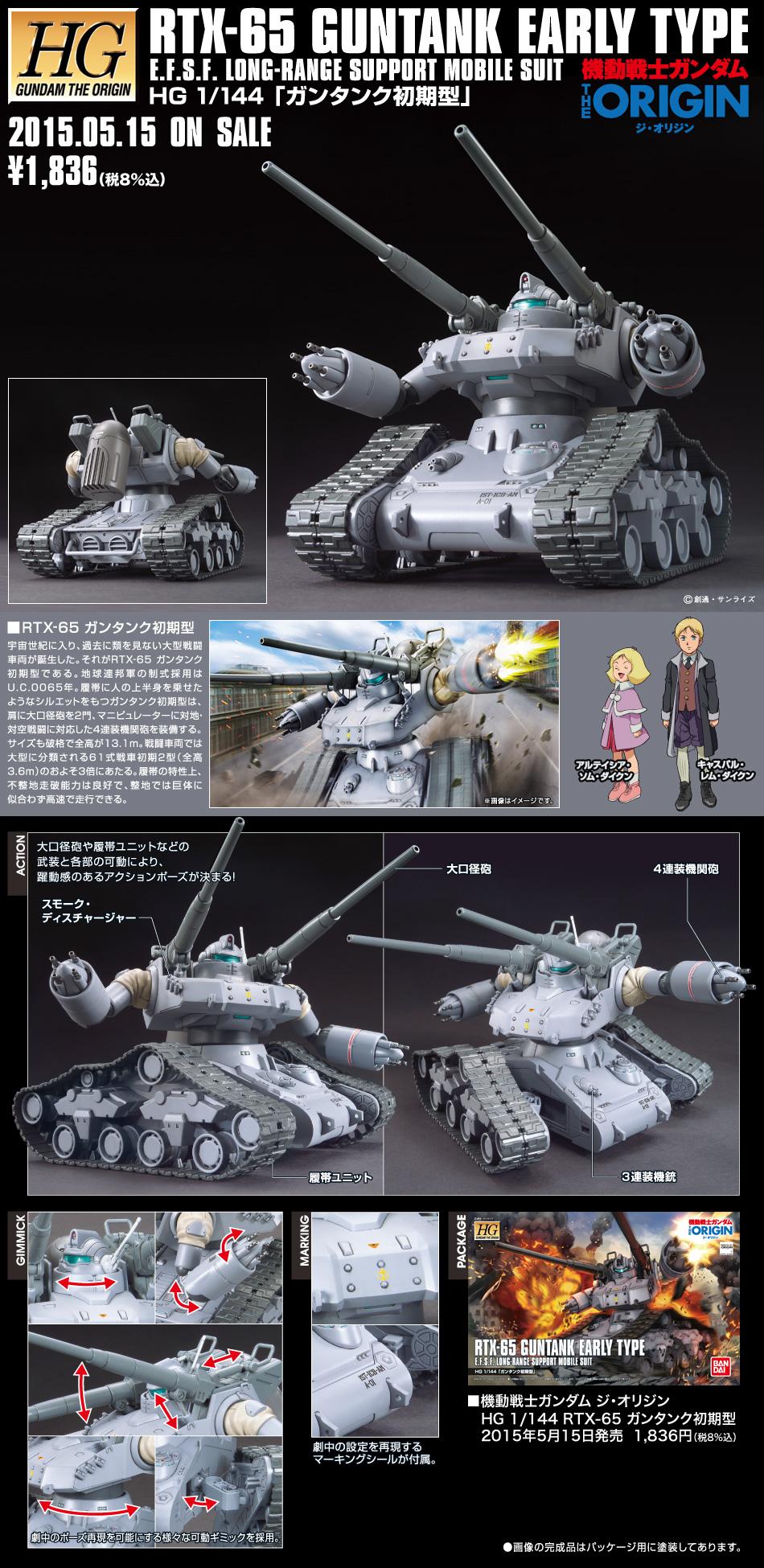HG 1/144 RTX-65 ガンタンク初期型 公式商品説明(画像)