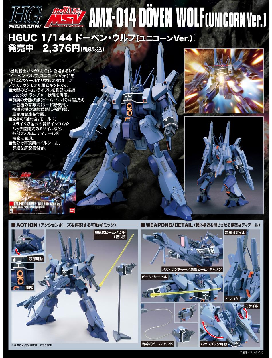 HGUC 1/144 AMX-014 ドーベン・ウルフ(ユニコーンVer.) [Döven Wolf (Unicorn Ver.)] 公式商品説明(画像)
