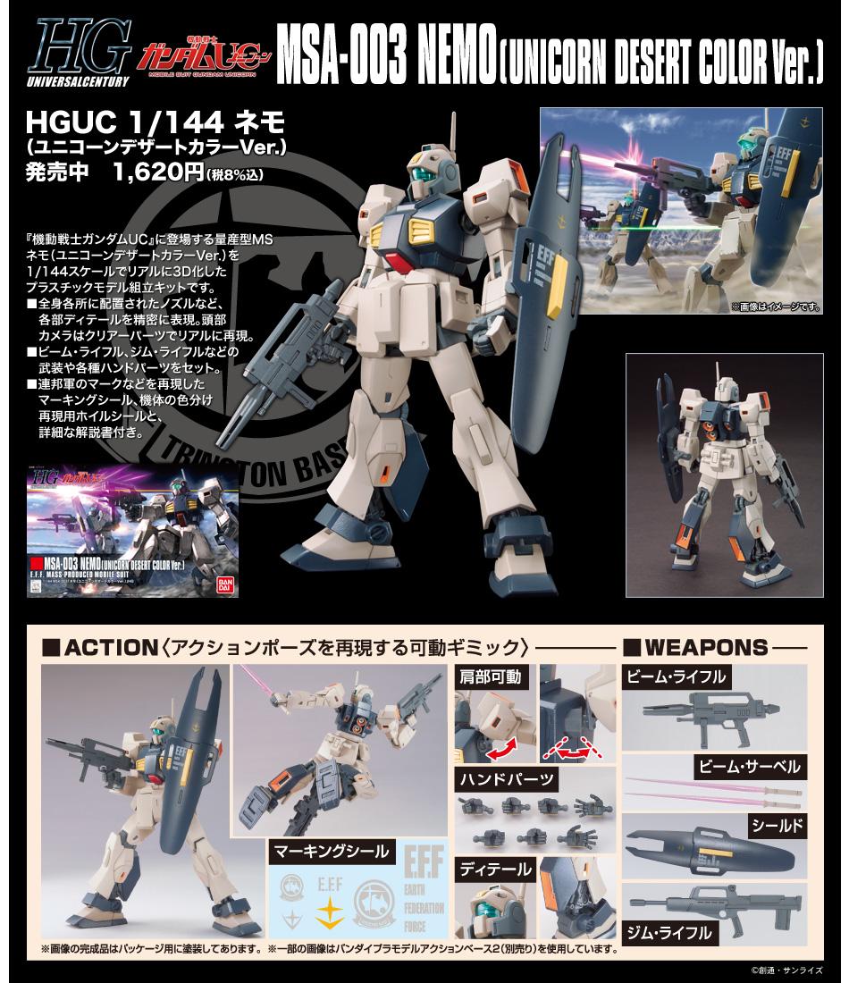 HGUC 1/144 MSA-003 ネモ(ユニコーンデザートカラーVer.) 公式商品説明(画像)