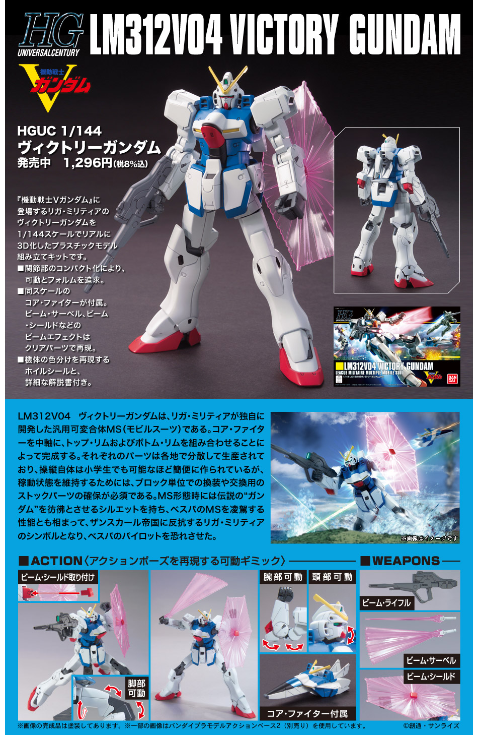 HGUC 1/144 LM312V04 ヴィクトリーガンダム [Victory Gundam] 公式商品説明(画像)