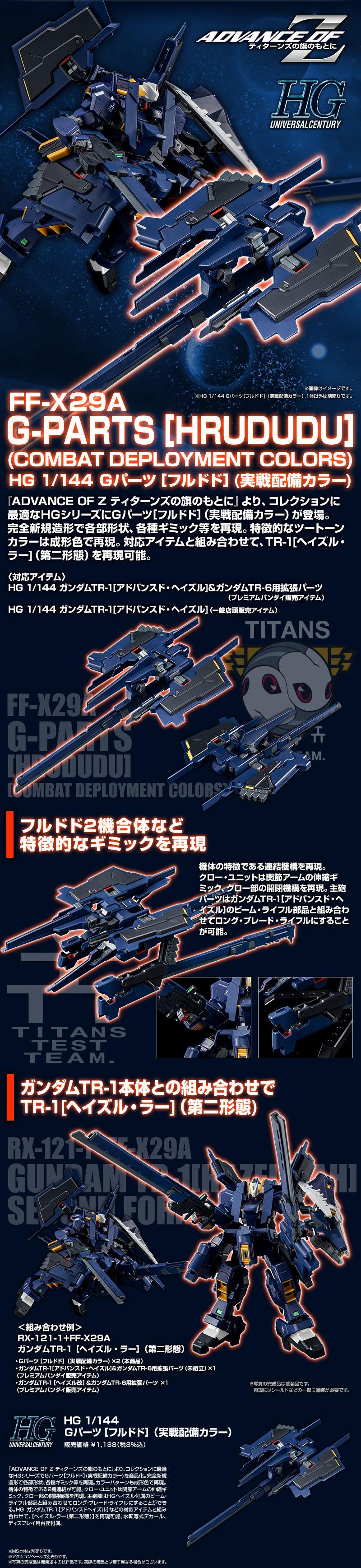 "HGUC 1/144 FF-X29A Gパーツ[フルドド](実戦配備カラー) [G-Parts ""Hrududu"" (Combat Deployment type)] 公式商品説明(画像)"