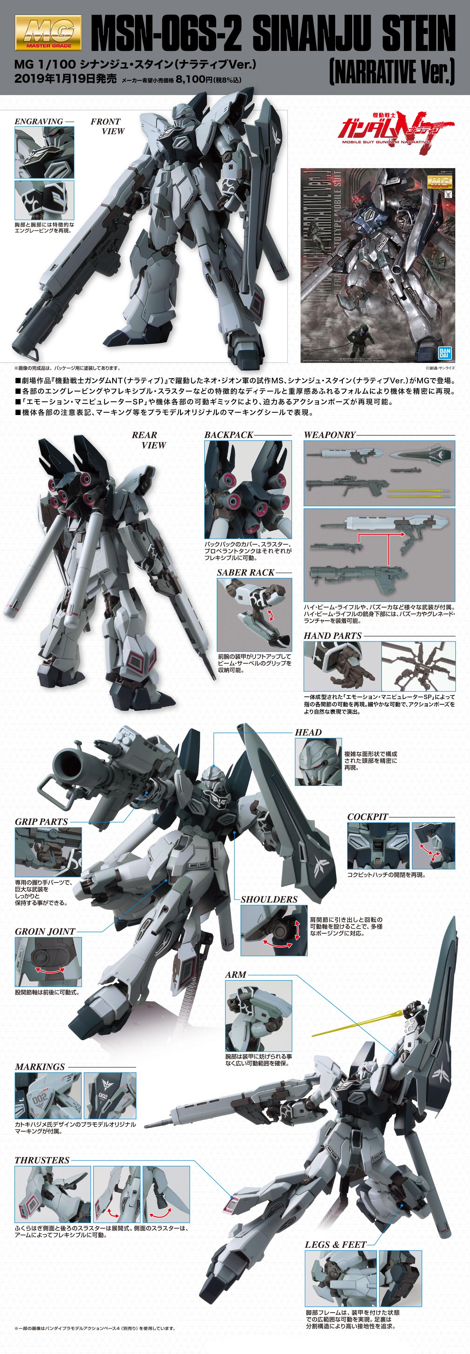 MG 1/100 シナンジュ・スタイン(ナラティブVer.) 公式商品説明(画像)